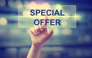 finger pressing special offer sign